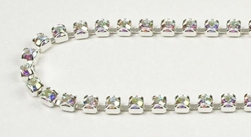 24PP (3.2mm) Crystal AB rhinestone prongless chain, 62 boxes per foot
