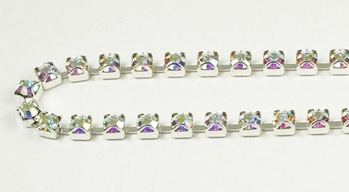 32PP (41mm) Crystal AB rhinestone prongless chain, 48 boxes per foot
