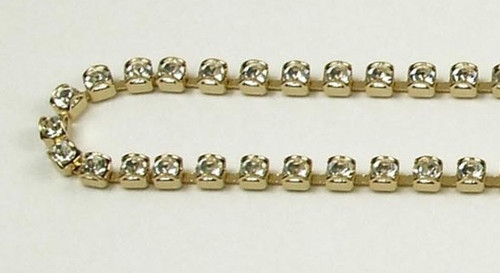 24PP (3.2mm) Crystal rhinestone prongless chain, 62 boxes per foot