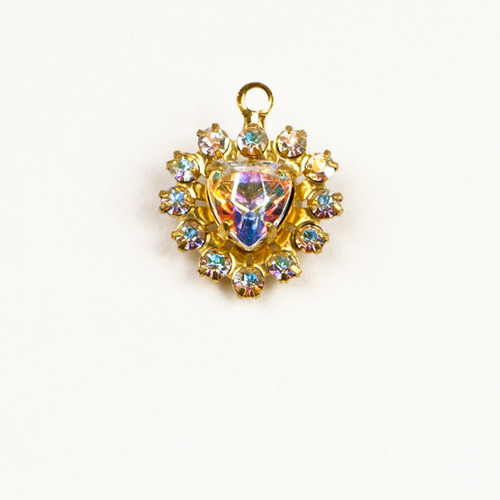 MH626/R-CRB; 12 - 14pp (2.10mm) stone Round and 6.50mm Heart setting, approx. 12.0mm, 1 ring, Crystal AB - 4 pieces per package