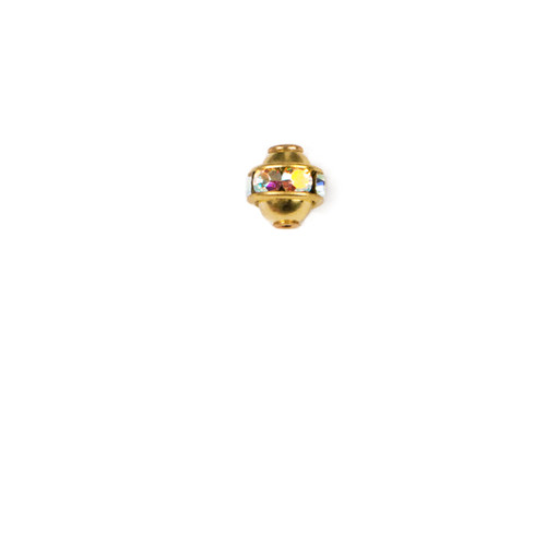 RBP506-CRB; Rondelle polished bead ball, 6- 14pp stones with cap setting, approx. 6.0mm, Crystal AB - 4 pieces per package