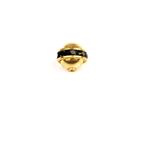 RBP508-JE; Rondelle polished bead ball, 8-20 pp stones with cap setting, approx. 8.0mm, Jet - 4 pieces per package