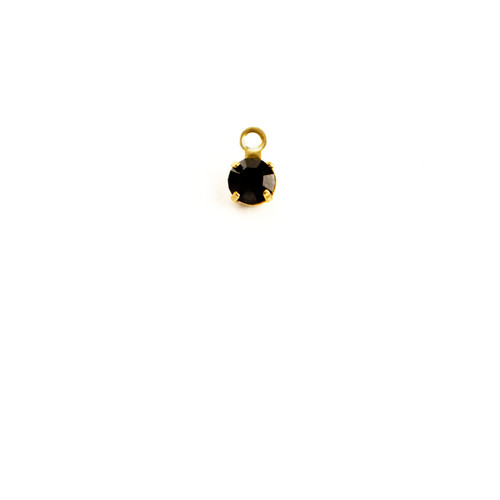 RD17/R-JE: Round single stone setting, 32pp, 1 ring, approx. 5.0mm, Jet - 25 pieces per package
