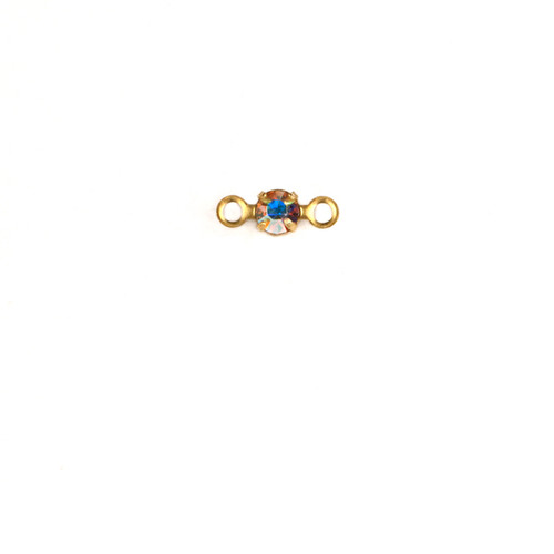 RD24/2R-CRB; Round single stone setting, 24pp, 2 rings, approx. 3.0mm, Crystal AB - 25 pieces per package