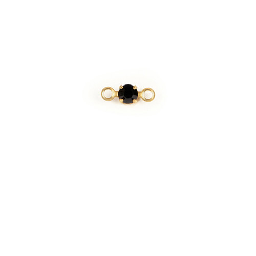 RD24/2R-JE; Round single stone setting, 24pp, 2 rings, approx. 3.0mm, Jet - 25 pieces per package
