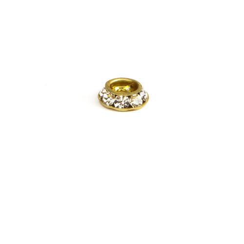 RL509-CR; Round multiple stone Rondelle setting, 8 - 18pp stones, approx. 8.0mm, Crystal - 6 pieces per package