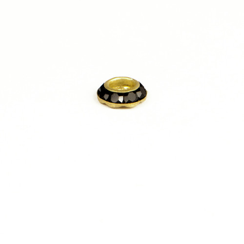 RL509-JE; Round multiple stone Rondelle setting, 8 - 18pp stones, approx. 8.0mm, Jet - 6 pieces per package