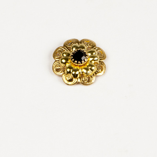 FI81-JE; Filigree setting and Rivet finding, 1 stone, approx. 15.0mm, Jet - 4 pieces per package