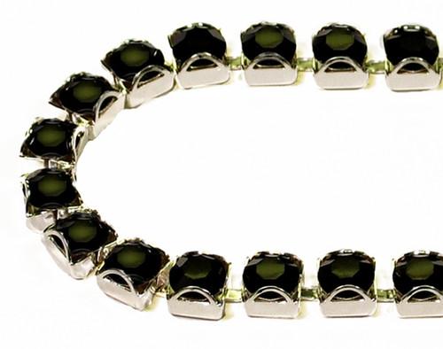 30SS (6.50mm) Jet rhinestone prongless cup chain, 37 stones per foot