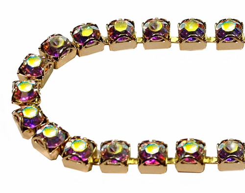 30SS (6.50mm) Crystal AB rhinestone prongless cup chain, 37 stones per foot