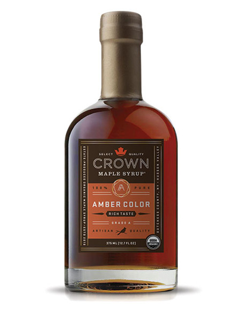The aromas and flavors of gingerbread, roasted chestnut, toffee, and a hint of clove and nutmeg, are showcased in Crown Maple Amber Color Rich Taste organic, pure maple syrup which presents a medium-body feel with a depth of luxurious flavors.