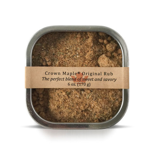 Crown Maple Original Spiced Rub delivers a perfect blend of tantalizing sweet & savory to elevate your favorite meats, seafood, burgers, vegetables, and dips.  We start with our signature Crown Maple sugar to deliver mouth-watering caramelization and elevate it further with black pepper, salt, garlic powder, onion powder, Spanish paprika and thyme.  Blend into sour cream, mayonnaise or yogurt to create your own signature dip and topping.  This product is produced and packed in a facility and on equipment that processes milk, egg, fish, crustacean shellfish, tree nuts, wheat, peanuts, and soy.
