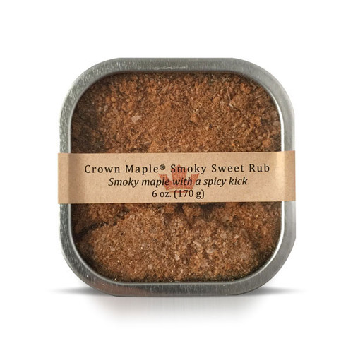 Crown Maple Smoky Sweet Rub delivers layers of smoky-sweet and caramelization with a spicy kick to elevate your favorite meats, seafood, burgers, vegetables, and dips.  We start with our signature smoked Crown Maple sugar to deliver mouth-watering caramelization and elevate it further with layers of soul-satisfying flavors from salt, chili powder, onion powder, cumin, black pepper, ginger, cayenne, thyme and cinnamon.  Blend into sour cream, mayonnaise or yogurt to create your own signature dip and topping.  This product is produced and packed in a facility and on equipment that processes milk, egg, fish, crustacean shellfish, tree nuts, wheat, peanuts, and soy.