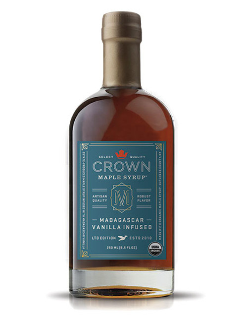 The aromatic and tantalizing floral aromas of Crown Maple Madagascar Vanilla Infused complements the graham cracker and brown butter notes of our Dark Color syrup to present a delicate and creamy body with buttery sweet notes that builds intrigue.