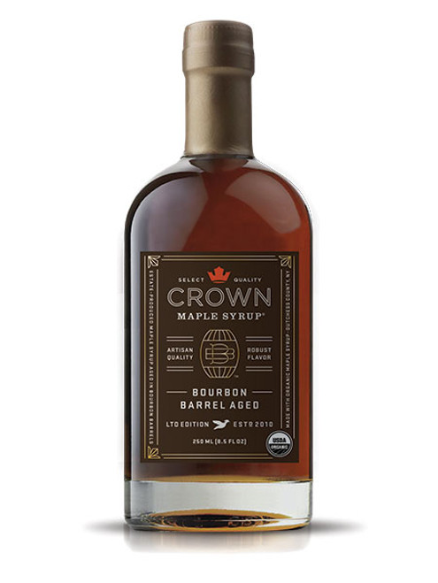 Distinctive aromas and flavors of bourbon, smoky oak, graham cracker, brown butter & creamy vanilla are showcased in Crown Maple Bourbon Barrel Aged organic maple syrup which presents exceptional layers of luxurious flavors.