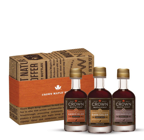 Explore our classic, organic, 100% pure maple syrup sample collection featuring three of our most popular maple syrups, elegantly presented in our Royal Treatment Box.