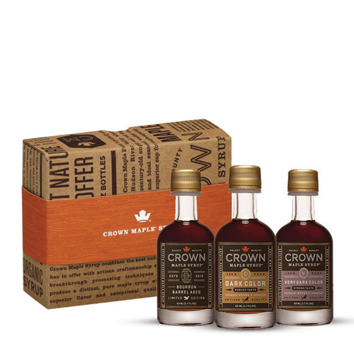 Indulge in three of our most popular organic maple syrups, elegantly presented in our Royal Treatment Box.