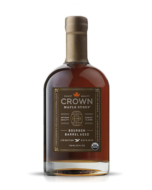 "Described by The Wall Street Journal as ""soul-stirring"", the Crown Maple Bourbon Barrel Aged organic maple syrup is estate-produced in NY's Hudson Valley and showcases distinctive aromas and flavors of maple, bourbon, smoky oak, graham cracker, brown butter & creamy vanilla with exceptional layers of luxurious flavors.   We take estate-produced maple syrup and age it in barrels to absorb the bourbon from the oak. The barrel features super-premium, 10-year bourbon from Widow Jane, based in Brooklyn NY. This aging process may leave trace amounts of alcohol in the bourbon barrel aged maple syrup. You will find yourself adding this to everything from yogurt to oatmeal, as a sweetener for coffee, as a versatile ingredient for bourbon maple glazed salmon, meats and vegetables, in a vinaigrette, in place of simple syrup for cocktail mixology, and of course to create an exceptional breakfast of pancakes, waffles, French toast, and bacon!     • Create exceptional breakfast foods--pancakes, French toast, waffles • Sweeten & flavor robust coffee, black tea, cold beverages • Drizzle over yogurt, oatmeal, fruit, ice cream and pies • Marinade & baste for grilled meats, fruits & vegetables • Adds flavor & depth to vinaigrettes, BBQ sauces, remoulades, mustard, salsas • Mixology-- premium bourbon, rye, and whiskey for intriguing cocktails    May contain trace amounts of alcohol"