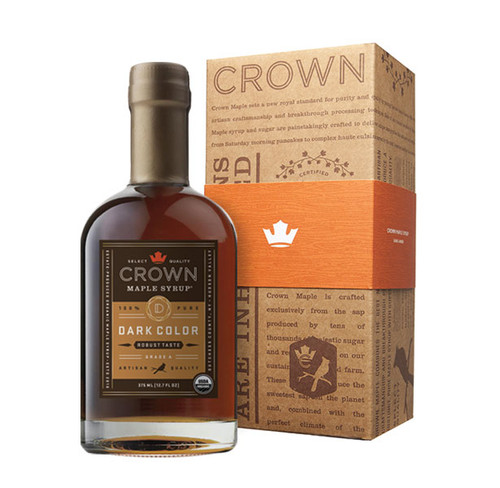 Make an uncommon impression with the distinctive Crown Maple Dark Color Robust Taste 375ML (12.7 FL OZ) organic, 100% pure maple syrup bottle in an elegant Royal Treatment box with your choice of our signature ORANGE band or HAPPY HOLIDAYS RED band.  With flavors and aromas of graham cracker, toffee, brown butter, and toasted pecans with a hint of warm spice, Crown Maple Dark Color Robust Taste organic, pure maple syrup has concentrated depth of flavor presented in a creamy, medium-body with robust flavors.