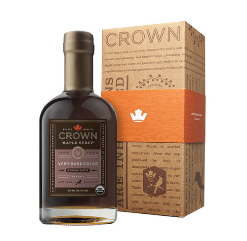 Make an uncommon impression with the distinctive Crown Maple Very Dark Color Strong Taste 375ML (12.7 FL OZ) organic, 100% pure maple syrup bottle in an elegant Royal Treatment box with your choice of our signature classic orange band or HAPPY HOLIDAYS band.  Deeply caramelized flavors and aromas of molasses, crème brûleè, espresso, and cocoa beans with hints of clove, allspice, and anise, make Crown Maple Very Dark Color Strong Taste organic, pure maple syrup the most full-bodied syrup in our line.  Complex and packed with flavor, this is our most assertive syrup with the strongest maple impact.