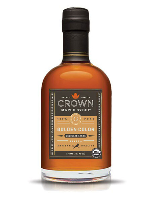 With the aromas and flavors of popcorn, toasted peanuts, salted caramel, and butterscotch, Crown Maple Golden Color and Delicate Taste syrup is light-bodied with a tantalizing finish that lingers lightly on the palate.