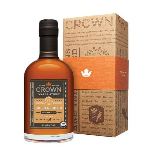 Make an uncommon impression with the distinctive Crown Maple Golden Color Delicate Taste 375ML (12.7 FL OZ) organic, 100% pure maple syrup bottle in an elegant Royal Treatment box with your choice of our signature classic orange band or HAPPY HOLIDAYS band.  With the aromas and flavors of popcorn, toasted peanuts, salted caramel, and butterscotch, Crown Maple Golden Color and Delicate Taste syrup is light-bodied with a tantalizing finish that lingers lightly on the palate.