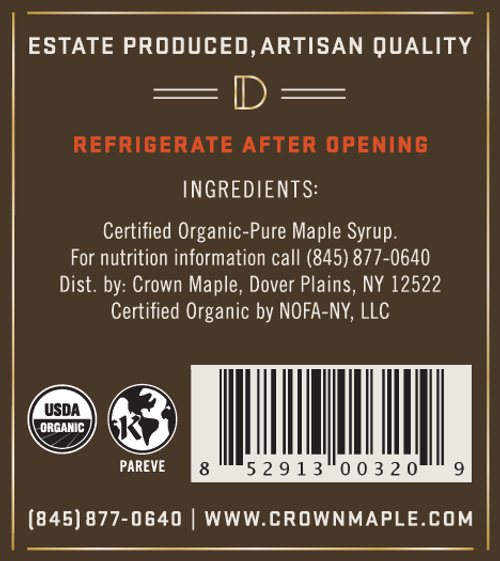 Crown Maple® Dark Color Robust Taste Organic Maple Syrup Single Petite 50ML (1.7 FL OZ)