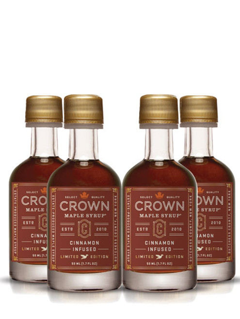 Crown Maple® Cinnamon Infused Organic Maple Syrup 12-Pack Petite 50ML (1.7 FL OZ) **Maple Sugaring Season Promo Save 15%**