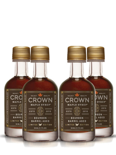 "12-Pack of our Petite bottles ideal for single use, sharing with house guests, on-the-go, gift giving, stocking stuffers, and more!  Described by The Wall Street Journal as ""soul-stirring"", the Crown Maple Bourbon Barrel Aged organic maple syrup is estate-produced in NY's Hudson Valley and showcases distinctive aromas and flavors of maple, bourbon, smoky oak, graham cracker, brown butter & creamy vanilla with exceptional layers of luxurious flavors.   We take estate-produced maple syrup and age it in barrels to absorb the bourbon from the oak. The barrel features super-premium, 10-year bourbon from Widow Jane, based in Brooklyn NY. This aging process may leave trace amounts of alcohol in the bourbon barrel aged maple syrup. You will find yourself adding this to everything from yogurt to oatmeal, as a sweetener for coffee, as a versatile ingredient for bourbon maple glazed salmon, meats and vegetables, in a vinaigrette, in place of simple syrup for cocktail mixology, and of course to create an exceptional breakfast of pancakes, waffles, French toast, and bacon!    • Create exceptional breakfast foods--pancakes, French toast, waffles • Sweeten & flavor robust coffee, black tea, cold beverages • Drizzle over yogurt, oatmeal, fruit, ice cream and pies • Marinade & baste for grilled meats, fruits & vegetables • Adds flavor & depth to vinaigrettes, BBQ sauces, remoulades, mustard, salsas • Mixology-- premium bourbon, rye, and whiskey for intriguing cocktails    May contain trace amounts of alcohol"