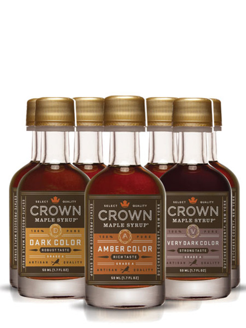 Enjoy a variety pack with a full dozen of our 50ML bottles of pure Crown Maple Syrup. Each pack contains an assortment of our syrups and will always include our premium Bourbon Barrel Aged Maple. Perfect for holiday stocking stuffers or sweet treats year round.