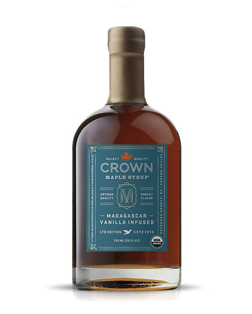 The aromatic and tantalizing floral aromas of Crown Maple Madagascar Vanilla Infused organic maple syrup complements the graham cracker and brown butter notes of our Dark Color maple syrup to present a delicate and creamy body with buttery sweet notes that builds intrigue.