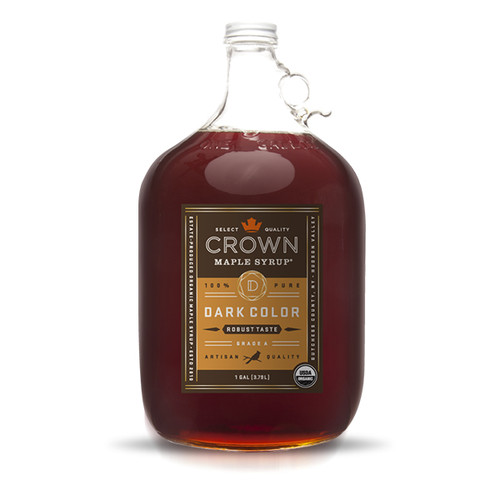 With flavors and aromas of graham cracker, toffee, brown butter, and toasted pecans with a hint of warm spice, Crown Maple Dark Color Robust Taste organic, pure maple syrup has concentrated depth of flavor presented in a creamy, medium-body with robust flavors.