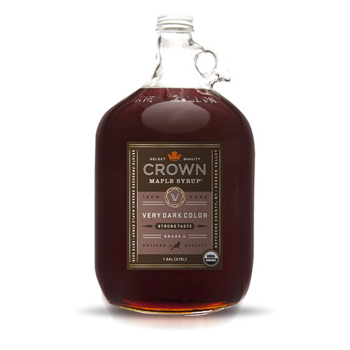 Deeply caramelized flavors and aromas of molasses, crème brûleè, espresso, and cocoa beans with hints of clove, allspice, and anise, make Crown Maple Very Dark Color Strong Taste organic, pure maple syrup the most full-bodied syrup in our line.  Complex and packed with flavor, this is our most assertive syrup with the strongest maple impact.