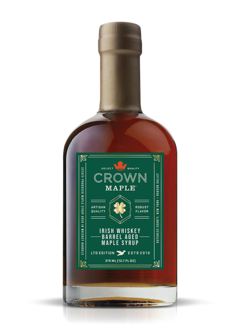 We have created a small-batch, artisan masterpiece by seasoning the oak in the barrel with a premium Black Barrel Irish Whiskey which masterfully pairs with Crown Maple organic maple syrup to present distinctive flavors of butterscotch, smoky oak, vanilla and creamy toffee alongside luxurious layers of maple. Limited Edition.  Suggested uses:   •Sweeten & flavor robust coffee, black tea, cold beverages & hot chocolate •Add flavor excitement to beverages •Drizzle over fruit, ice cream and pies •Marinade & baste for grilled meats, fruits, vegetables •Adds flavor & depth to vinaigrettes, BBQ sauces, remoulades, mustards, salsas •Mixology-- premium bourbon, rye, and whiskey for intriguing cocktails