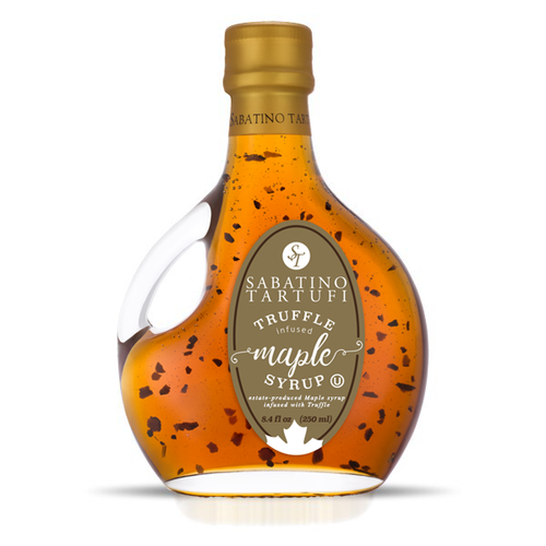 Crown Maple Amber Color Rich Taste pure maple syrup is infused with earthy summer truffles to create a well-rounded, intriguing, sweet and savory combination with layer upon layer of umami.  •Condiment for specialty cheese and charcuterie board •Glaze for meats, bacon, seafood and vegetables •Whisk into marinades, sauces, vinaigrettes & butter •Drizzle on pancakes, crepes, ice cream, fruit & desserts •Elevate mixology for specialty cocktails •Kosher U  Ingredients: Pure Maple Syrup, Truffle Flavor, Dehydrated Truffles