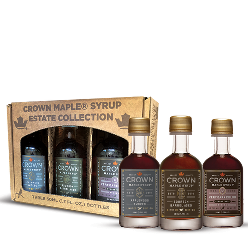 Sample this indulgent collection of estate-produced Crown Maple products carefully crafted for entertaining—each organic maple syrup brings depth of flavor excitement to grilled foods, elegant flavor topping for specialty cheese, and elevates cocktail mixology.  Crafted in small-batches, this signature collection showcases robust flavor and artisan quality that deliver layer upon layer of flavors for your grilling experience, from meats and seafood, to appetizers, salads, side dishes, cocktails, and more.  Collection contains one 50ML (1.7 FL OZ) bottle each of Bourbon Barrel Aged organic maple syrup (may contain trace amounts of alcohol), Applewood Smoked organic maple syrup, and Very Dark Color Strong Taste organic maple syrup, showcased in an elegant Window Box.