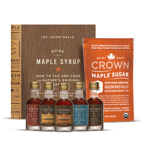 Maple syrup lovers rejoice as you sample five exceptional Crown Maple syrups and maple sugar while exploring the fascinating world of maple.  This offering features The Crown Maple Guide to Maple Syrup, organic Maple Sugar 10OZ, and one Petite 50ML bottle each of Amber Color Rich Taste organic maple syrup, Dark Color Robust taste organic maple syrup, Cinnamon Infused organic maple syrup, Madagascar Vanilla Infused organic maple syrup, and Bourbon Barrel Aged organic maple syrup (may contain trace amounts of alcohol).  The Crown Maple Guide to Maple Syrup is the ultimate guide to maple syrup, with 65 sweet and savory recipes, instructions on tapping and evaporating, and an overview of the fascinating history of maple syrup in the United States. Crown Maple owner Robb Turner offers a comprehensive look into the world of maple syrup, complete with archival images and tutorials on the process. After you learn everything you need to know about maple syrup, move into the kitchen with recipes inspired by Robb and his wife Lydia's home kitchen. Try the maple-pecan sticky buns, the maple-glazed duck, or maple lemon bars. Beautifully designed, with a mix of detailed process illustrations from tap to bottle and enticingly photographed recipes, this book is the perfect reference and keepsake for every maple syrup lover.