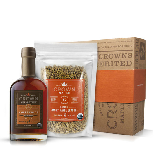 Crown Maple® Granola Set in Royal Treatment Box with Amber Color Rich Taste 375ML (12.7 FL OZ)