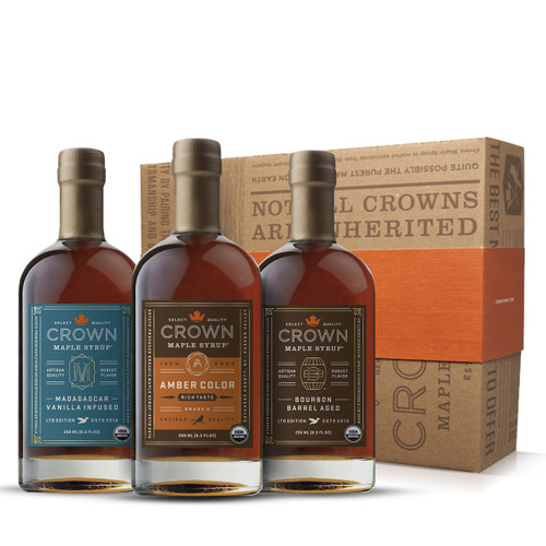 Crown Maple® Premium Trio Collection in Royal Treatment Box 250ML (8.5 FL OZ) Featuring Amber Color Rich Taste, Bourbon Barrel Aged & Madagascar Vanilla Infused