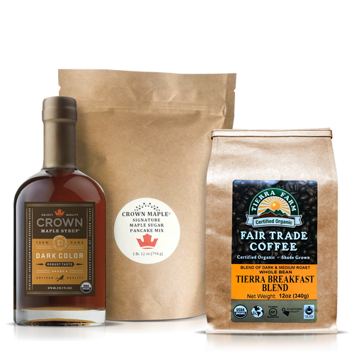 This Breakfast Care Package is an elegant way to slow down and spend some quality time around the table enjoying a warming and comforting breakfast. Share this moment of joy with friends and family to let them know you are thinking of them.     The Breakfast Care Package includes:   Crown Maple Dark Color Robust Taste organic maple syrup 375 ML (12.7 FL OZ) featuring flavors and aromas of graham cracker, toffee, brown butter, and toasted pecans with a hint of warm spice. This pure maple syrup has concentrated depth of flavor presented in a creamy, medium-body with robust flavors. Pairs perfectly with pancakes and as a sweetener in coffee.  Crown Maple Signature Maple Sugar Pancake Mix 28 Oz. (794g), an artisan quality recipe that delivers a distinctive pancake experience featuring Crown Maple sugar and Crown Maple sugar pearls that explode with maple flavor on the griddle. Contains: Wheat  Tierra Farms Organic Tierra Breakfast Blend Coffee, Whole Bean, 12 oz. featuring a specially selected blend of Central American and Indonesian beans, handpicked by the globetrotting Tierra Farms coffee buying team. The bold, smooth coffee has light acidity and a medium body. Look for the taste of almonds and chocolate. When this coffee hits your lips, you will be ready to greet the sunshine and indulge in your stack of pancakes.     Note: Pancake Mix produced and packed in a facility and on equipment that processes milk, egg, fish, crustacean shellfish, tree nuts, wheat, peanuts, and soy.