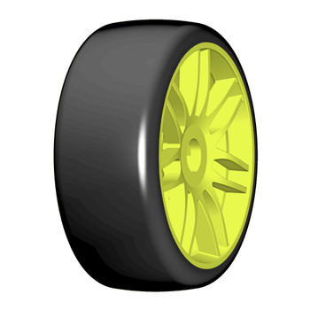 GRP 1:8 GTY02-S3 Soft - Mounted on New Spoked Yellow Wheel - 1 Pair