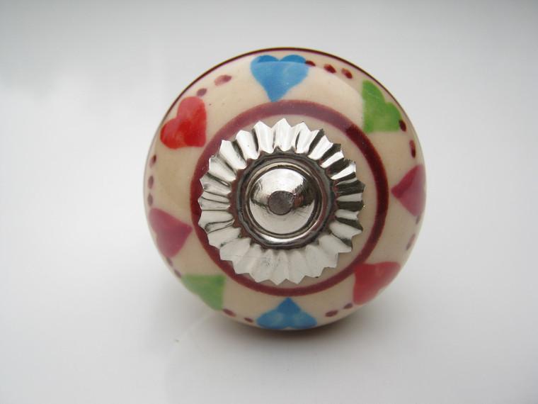 Shabby Chic Ceramic Knob - Circle of Hearts