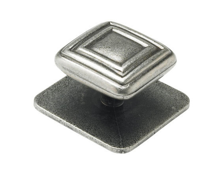 Kitchen Square Knob Handle with Square Backplate Antique Pewter