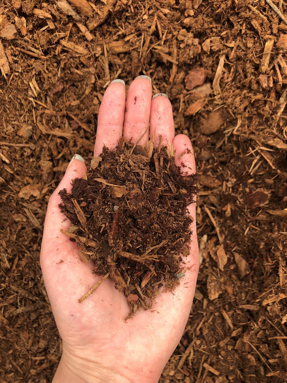 "Bark Mulch red/brown, 1"" minus mulch"