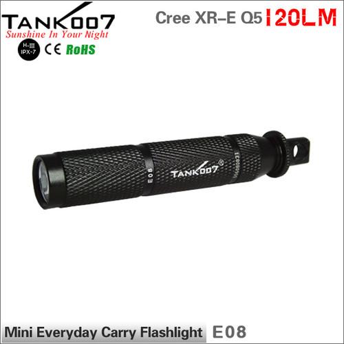 TANK007 E08 Cree Q5 led Mini Flashlight 1xAAA battery led torch with carabiner 1-modes