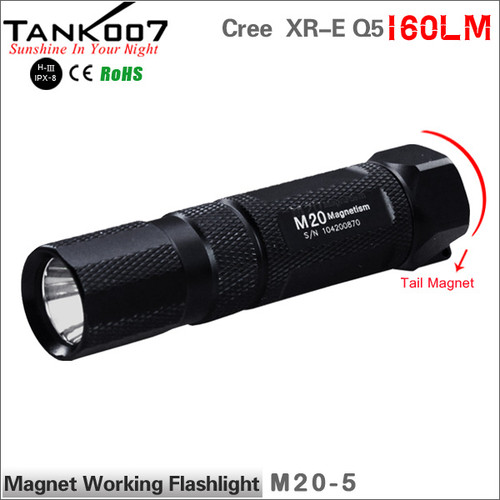 TANK007 M20 Magnetic led flashlight USA Cree XP-G Q5 torch with magnet powered by AA/14500 battery