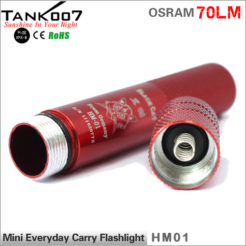 TANK007 HM01 OSRAM Outdoor Mini Flashlight 70 lumen led torch promotion gift finger size flashlight