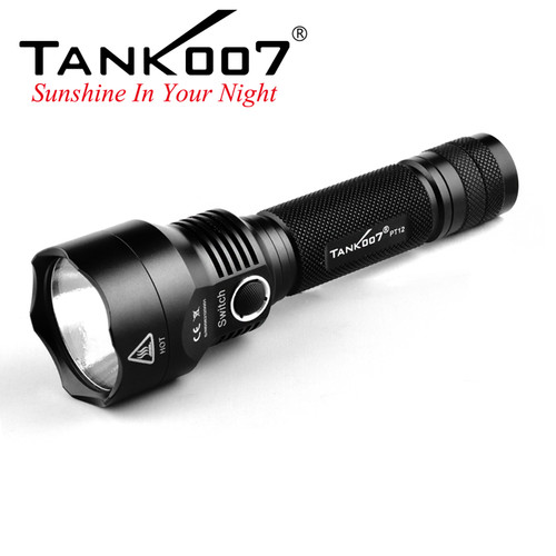 PT12 High Power Tactical Flashlight 800LM 5W LED with Defensive Tail