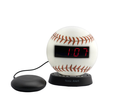 Sonic Glow BASEBALL Alarm Clock with Recordable Alarm and Bed Shaker