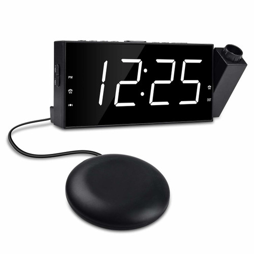 Projection Ceiling Loud Dual Alarm Clock w/Bed Shaker